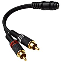 """Seismic Audio - SA-i2RM1E - Female 1/8"""" (3.5mm) to Male RCA Patch Cable - For iPhone, iPod, Laptop, MP3, Android, etc - Hook to guitar and power amplifiers"""