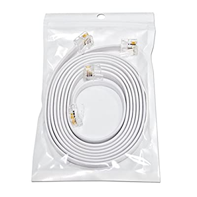 """(2 Pack) 3 Foot White Short Telephone Cable Rj11 Male to Male 36"""", Phone Line Cord"""