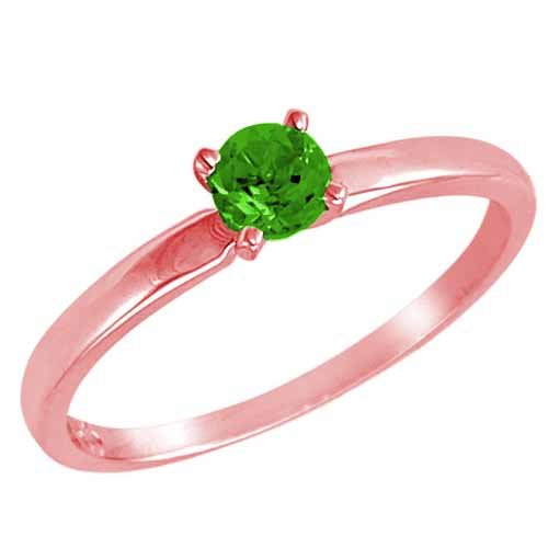 DivaDiamonds 14ct Rose Gold Round Solitaire Peridot Ring (0.45 ctw) - Size Q