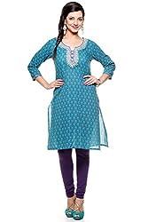Lyla Cotton Turquoise & Blue Kurti for Women(Size-X-Small)