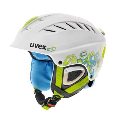 UVEX Damen Skihelm X-Ride Motion Graphic, white/green/blue mat, 53-58 cm, S56.6.117.1003