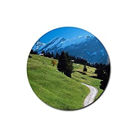 Mountains scenic photo Round Rubber Coaster set 4 pack Great Gift Idea