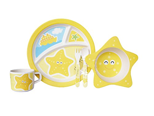 Bamboo Fiber Funny Kids Set Starfish Bpa Free, Non-Toxic [Free Baby Meal Organic Supplement]