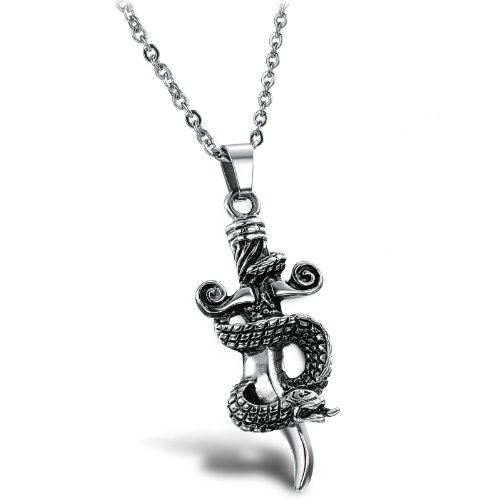 OPK-New Fashion Jewelry Stainless Steel Men's Necklace Personalized Retro Snake Cross Pendant 54.3x22mm Chain Necklets 17.7g Weight