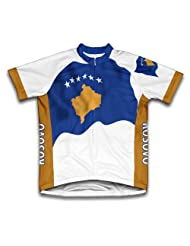Kosovo Flag Short Sleeve Cycling Jersey for Women