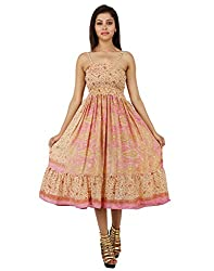 Elegant Polyester Abstract Dress Red Printed Medium For Girl's By Rajrang