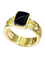 Riyo Black Grandstar Black Onyx Wholesale Gold Plated Classic Day Rings Women 17 Gprbon8-6040