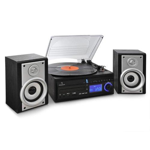 Auna Stereoanlage DS-2 Kompaktanlage mit Plattenspieler CD-Player und Radio zum digitalisieren (MP3 fähige USB-SD Eingänge, 2-Wege Lautsprecher,33/45 U/min) schwarz-silber