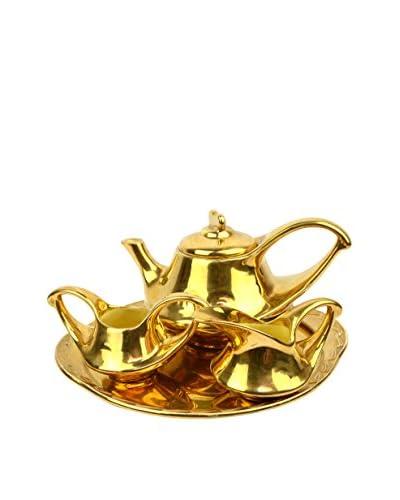 Uptown Down 5-Piece 24K Gold-Plated Tea Set, Gold