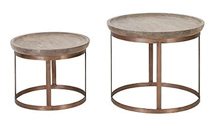 Mesa de centro diseño S/2Ã ~ 43x 35+ Ã ~ 53x 45cm Machala cobre de madera
