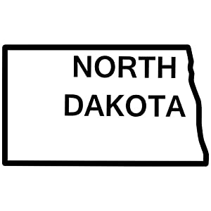 Amazon com north dakota state outline decal sticker black 8 inch