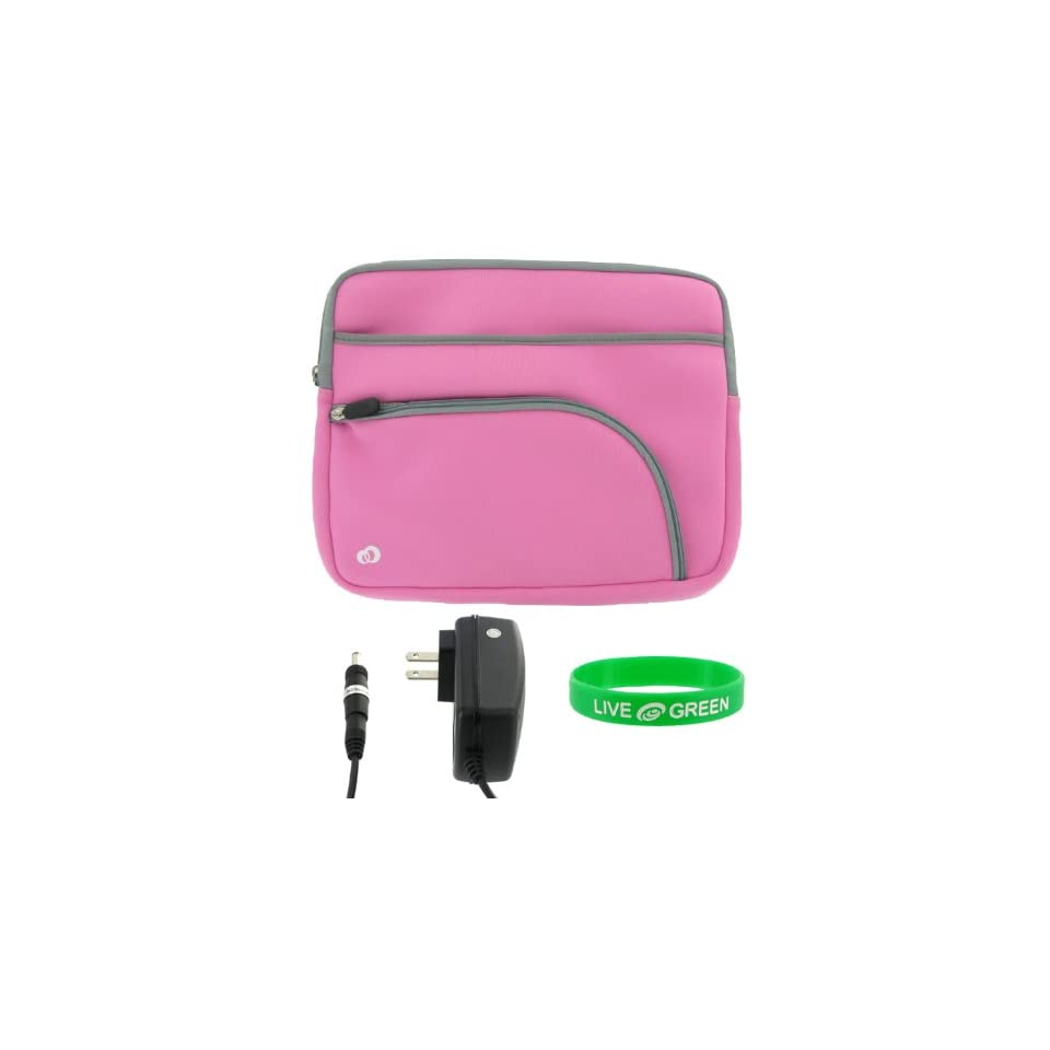 Dell Inspiron Mini IM12 2870 12.1 Inch Netbook Sleeve Case with Wall Charger   Tri Pocket Pink