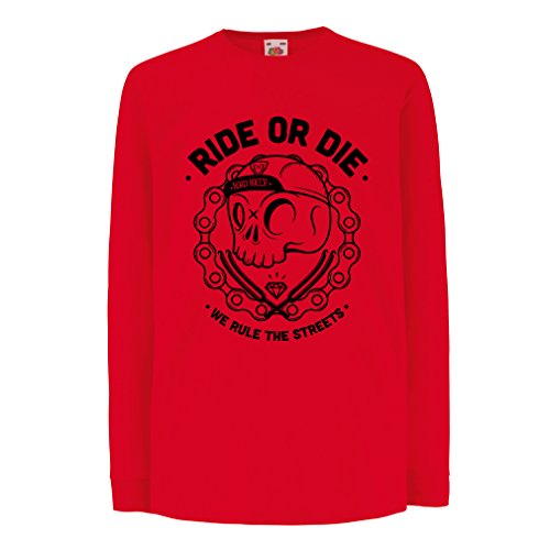 N4611D Bambini t-shirt con maniche lunghe Ride or Die (5-6 years Rosso Multicolore)