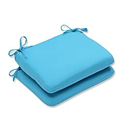 Pillow Perfect Outdoor Veranda Turquoise Rounded Corners Seat Cushion, Set of 2