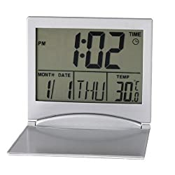 XREXS Large LCD Digital Timer Foldable Desktop Tabletop Calendar Temperature Digital Alarm Clock(silver)
