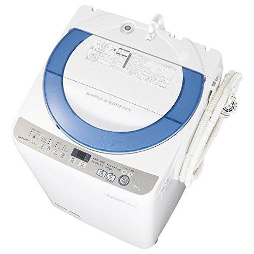 シャープ 7.0kg 全自動洗濯機 ブルー系SHARP 穴なし槽 ES-GE70R-A