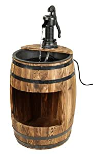 Astonica Whiskey Barrel Wooden Fountain With