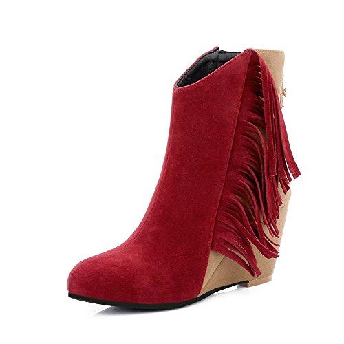VogueZone009 Donna Punta Tonda Colore Assortito Bassa Altezza Tacco Alto Stivali, Rosso, 37