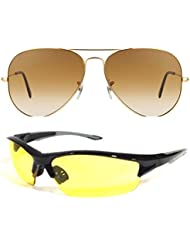 Unisex Uv Protected Combo Pack Of Aviator Sunglasses And Yellow Night Vision Sunglasses ( Golden Shd Brown - Yellow...