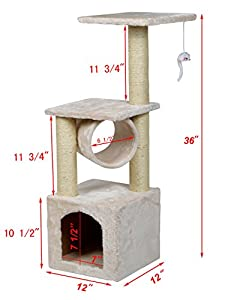 """TMS® 36"""" Deluxe Cat Tree Level Condo Furniture Scratcher Scratching Post Kittens Pet Play House with Mouse Play Toy"""
