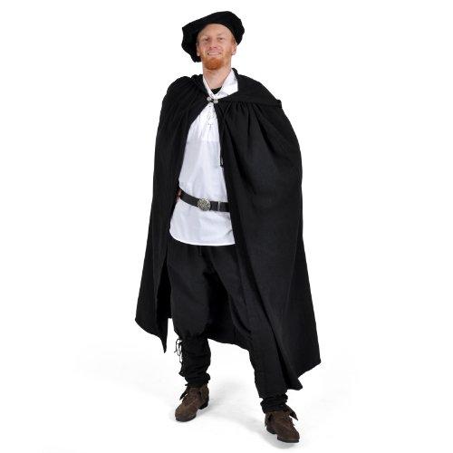 Mantello medievale con cappuccio in nero