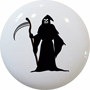 Set of 2 Grim Reaper Ceramic Cabinet Drawer Pull Knobs