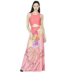 SVT ADA COLLECTIONS COTTO LYCRA PINK COLOR PRINTED DESIGNER GOWN (025004M_Pink_Medium)
