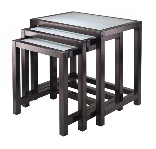 Copenhagen 3-pc Nesting Table Set with Glass top nomess copenhagen предмет для хранения