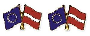Yantec Freundschaftspin 2er Pack Europa Lettland Pin Anstecknadel Doppelflaggenpin