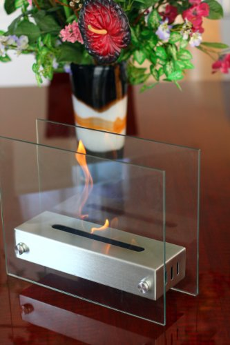 Sale!! Portable double side glass steel bio ethanol table top fireplace