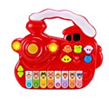 Zewik 2 In 1 Colorful Electronic Piano Baby Musical Instrument Toy,Hand Press Animal Music Toys (Red Train)