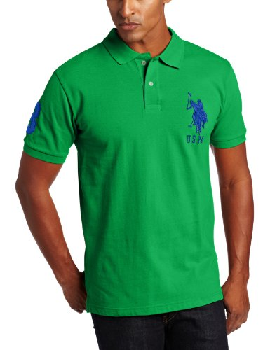 U.S. Polo Assn. Men's Solid Polo with Big Pony, Cactus Flower, Medium