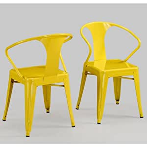 Modern tabouret lemon yellow metal stacking for Modern yellow dining chairs