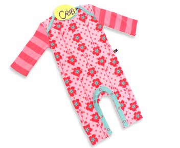 Crib Fashion Flower playsuit with Stripe Sleeves