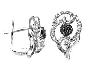 Boucles d'oreilles - Femme - Or Blanc 375/1000 (9 Cts) 2.3 Gr - Diamant