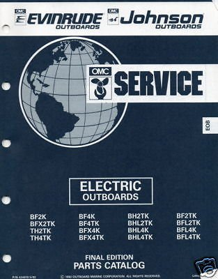 1992 Omc Electric Outboards Parts Manual New