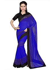 Designersareez Women Royal Blue Faux Georgette Saree With Unstitched Blouse (1679)