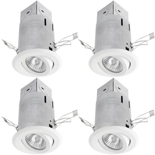 Globe Electric 90165 3 Inch Recessed Lighting Kit, Swivel, White Finish, Spot Light, 4 Pack