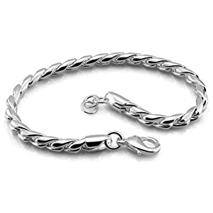 Platinum Plated 925 Sterling Silver Fashion Round Chain Bracelet 5mm 8