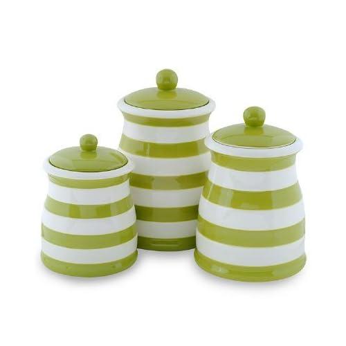 Amazon.com: Green & White Stripe Ceramic Canister Set