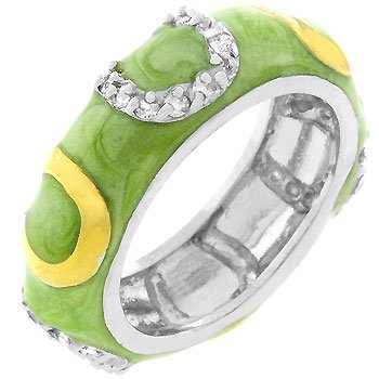 White Gold Rhodium Bonded, 14k Gold Bonded Horseshoes and Light Green Enamel Overlay with Handset Clear Cz Eternity Ring Women Jewelry (6)