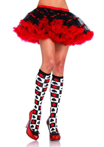 Alice in Wonderland Knee Highs in White/Red, One Size (UK 8-14)