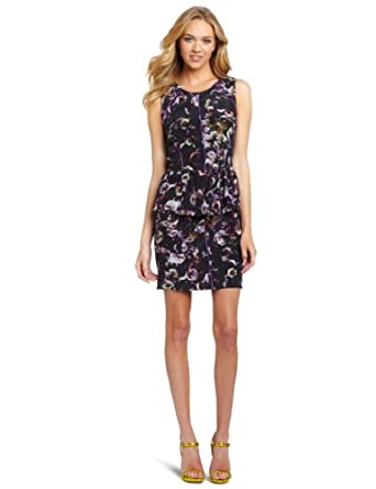 Charlie Jade Women's Prada Peplum Dress, Black/Purple, Large