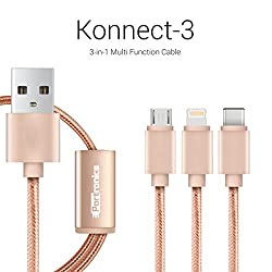Portronics Konnect 3 Three-in-One multifunction (micro USB / lightning / type C) cable-Gold