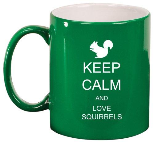 Green Ceramic Coffee Tea Mug Keep Calm And Love Squirrels