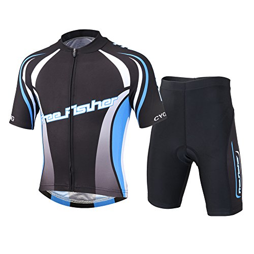 Free Fisher Kids Boys' Girls' Cycling Jersey Set (Short Sleeve Jersey + Padded Shorts) Black 2X (Girls Cycling Jersey compare prices)