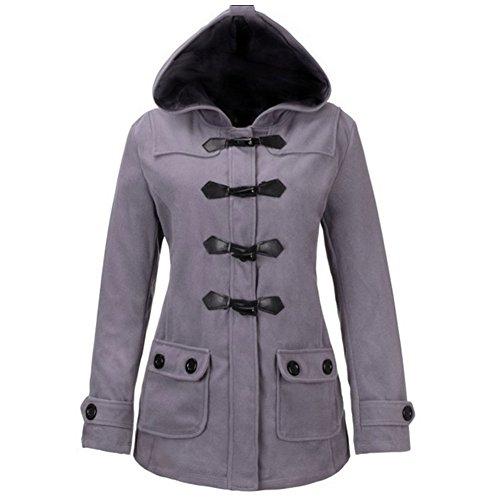 Manwan Walk Women's Double Breasted Pea Coat Plus Size Jacket W1759 (Large, Grey)