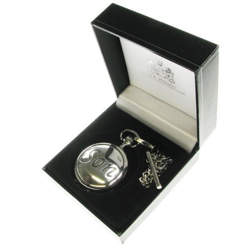 Son's 18th Birthday Gift, Engraved 18th Birthday Pocket Watch with Solid Pewter 'Son' Case Front in a Quality Presentation Box, Gift for Men's 18th Birthday