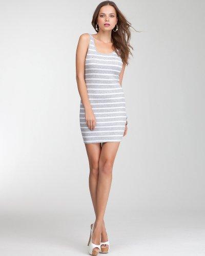 Bebe Logo Stripe Bodycon Dress HEATHER GREY-WHITE Size Large