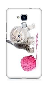 Amez designer printed 3d premium high quality back case cover for Huawei Honor 5C (Kitten ball thread white )